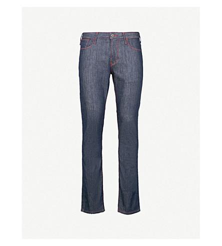EMPORIO ARMANI Contrast-stitching slim-fit skinny jeans (Dark+blue