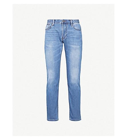 EMPORIO ARMANI J06 slim-fit tapered jeans (Light+wash