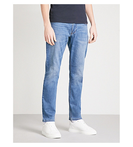 EMPORIO ARMANI J06 slim-fit tapered jeans (Light+wash