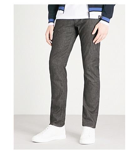 EMPORIO ARMANI Slim-fit tapered jeans (Black+wash