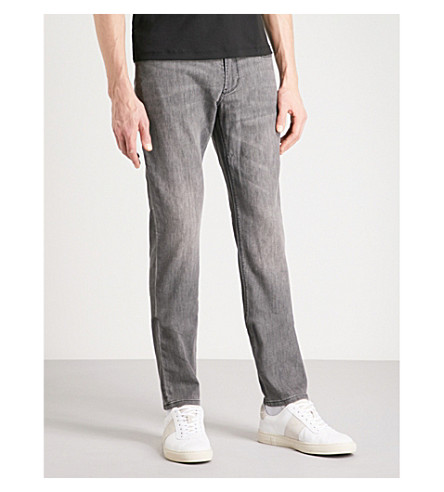 EMPORIO ARMANI Slim-fit tapered jeans (Grey+wash