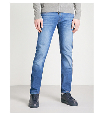 EMPORIO ARMANI J10 extra slim-fit straight jeans (Mid+blue