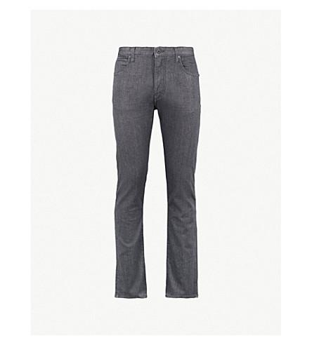 EMPORIO ARMANI Slim-fit tapered stretch-denim jeans (Faded+black