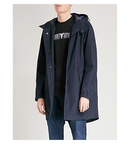 EMPORIO ARMANI Hooded shell parka jacket (Navy