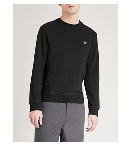 EMPORIO ARMANI Appliquéd cotton-jersey sweatshirt (Black