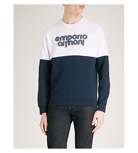 EMPORIO ARMANI Logo cotton-blend sweatshirt (Navy