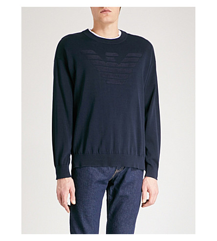 EMPORIO ARMANI Logo-detail knitted jumper (Navy
