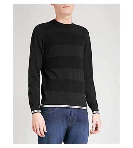 EMPORIO ARMANI Striped fine-knit cotton jumper (Black