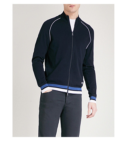 EMPORIO ARMANI Striped-trim knitted cardigan (Navy