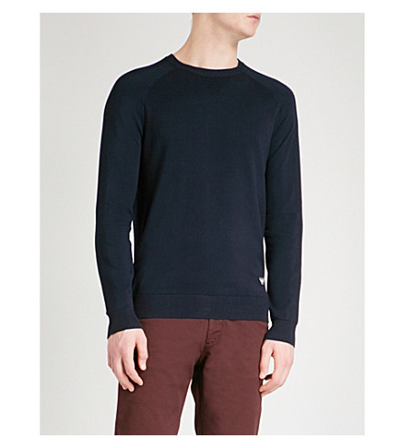 EMPORIO ARMANI Ribbed-detail knitted jumper (Navy