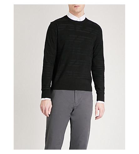 EMPORIO ARMANI Intarsia knitted jumper (Black