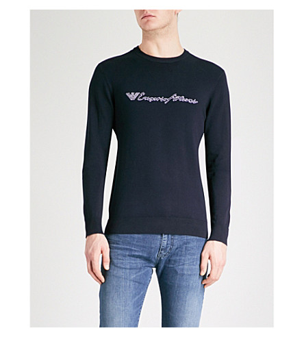EMPORIO ARMANI Script logo knitted jumper (Navy