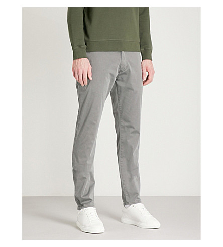 EMPORIO ARMANI Slim-fit cotton-blend chinos (Grey