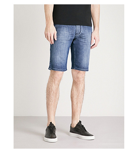 EMPORIO ARMANI Regular-fit faded stretch-denim shorts (Mid+blue