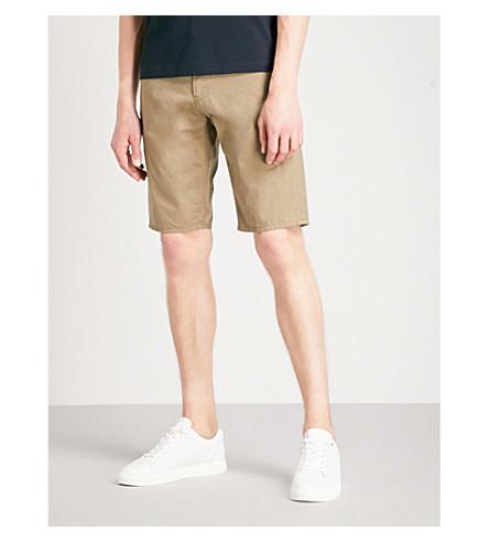 EMPORIO ARMANI Regular-fit cotton shorts (Beige