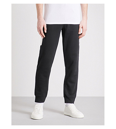 EMPORIO ARMANI Contrasting-panel cotton-blend jogging bottoms (Black