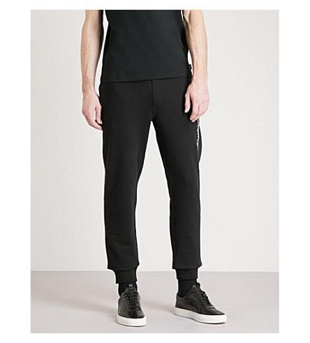 EMPORIO ARMANI Embroidered cotton-jersey jogging bottoms (Black