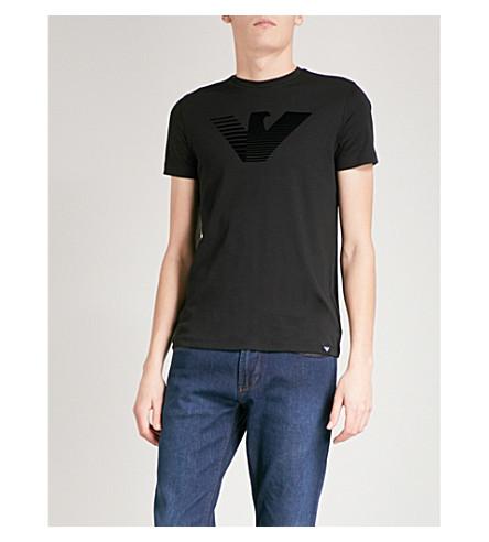 EMPORIO ARMANI Logo-print cotton-jersey T-shirt (Black