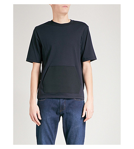 EMPORIO ARMANI Patch Pocket cotton-jersey T-shirt (Navy