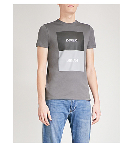 EMPORIO ARMANI Block square logo-print cotton-jersey T-shirt (Grey