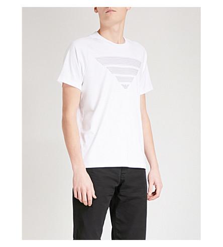 EMPORIO ARMANI Printed cotton-jersey T-shirt (White