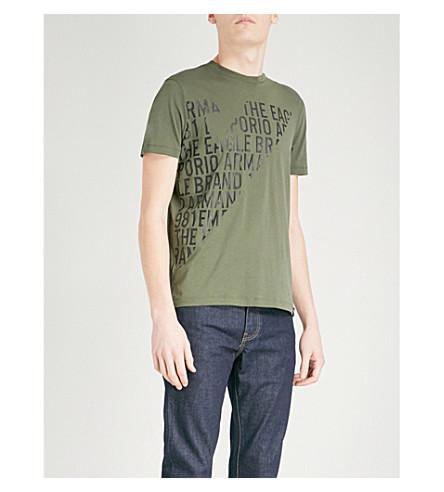 EMPORIO ARMANI Logo-print cotton-jersey T-shirt (Green