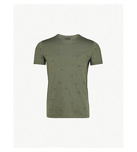 EMPORIO ARMANI Embroidered logo-detail cotton-jersey T-shirt (Green