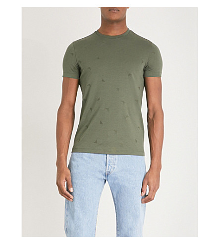EMPORIO ARMANI Embroidered logo-detail cotton-jersey T-shirt (Green