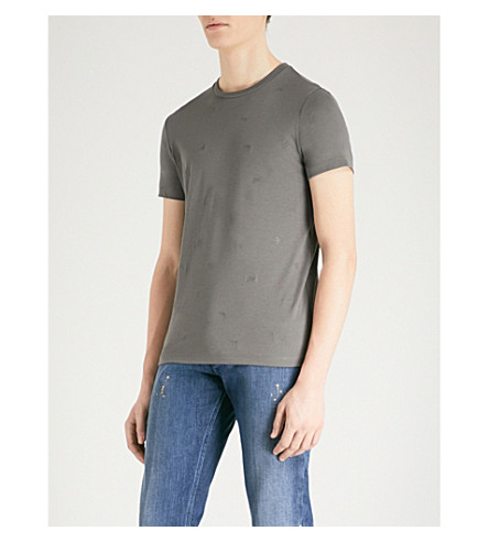 EMPORIO ARMANI Embroidered logo-detail cotton-jersey T-shirt (Grey