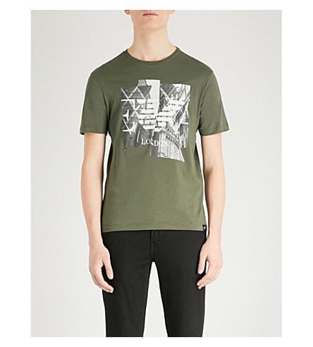EMPORIO ARMANI Printed cotton-jersey T-shirt (Green