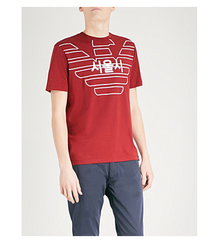 EMPORIO ARMANI Eagle City cotton-jersey T-shirt (Red