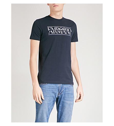 EMPORIO ARMANI Split logo-print cotton-jersey T-shirt (Navy