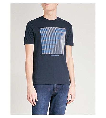 EMPORIO ARMANI Logo-print cotton-jersey T-shirt (Blue