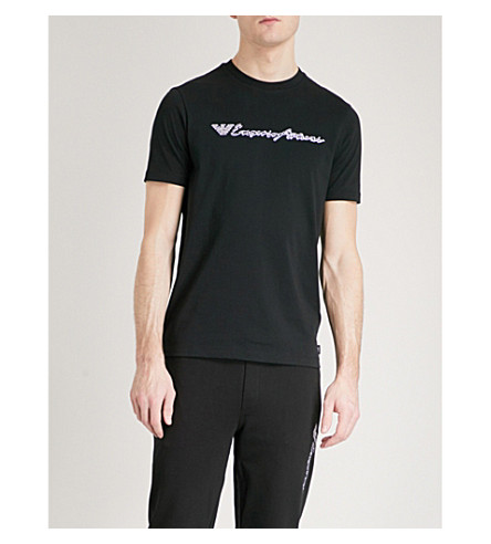 EMPORIO ARMANI Embroidered cotton-jersey T-shirt (Black