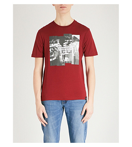 EMPORIO ARMANI Printed cotton-jersey T-shirt (Red
