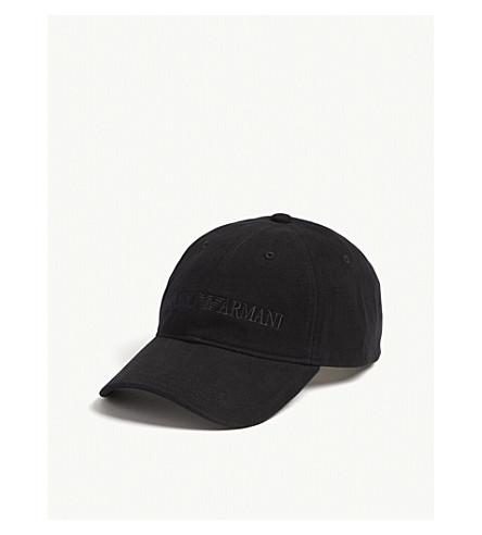 EMPORIO ARMANI Logo cotton baseball cap (Black