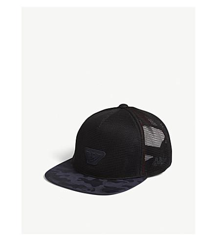 EMPORIO ARMANI Camouflage mesh snapback cap (Black/blue