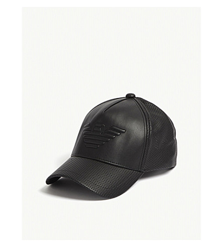 EMPORIO ARMANI Eagle faux-leather snapback cap (Black