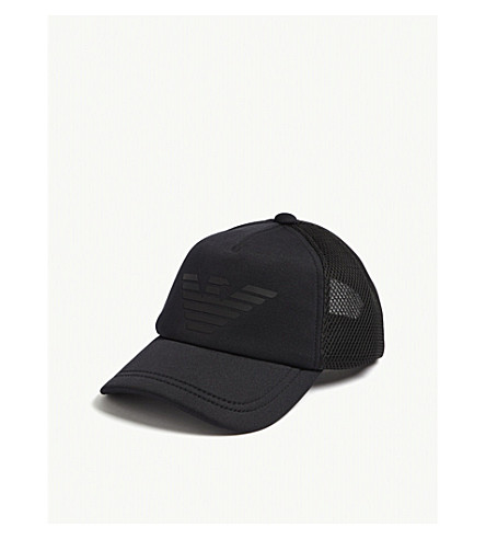 EMPORIO ARMANI Eagle mesh and neoprene snapback cap (Navy/blk