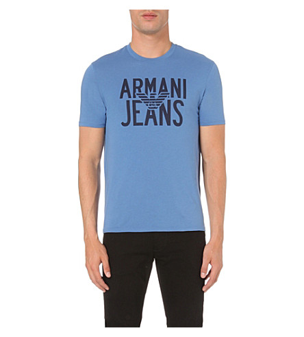 ARMANI JEANS Eagle logo cotton-jersey t-shirt (Light+blue