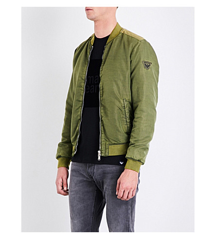 ARMANI JEANS Patch-embroidered shell bomber jacket (Green