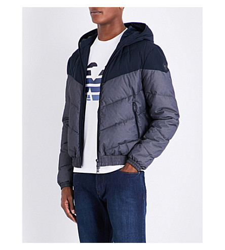 ARMANI JEANS Chevron quilted hooded shell jacket (Blue