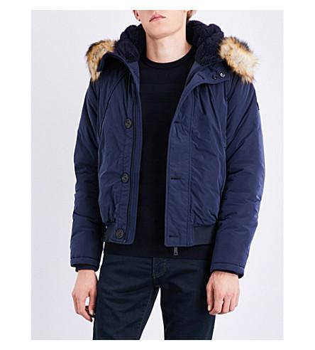 ARMANI JEANS Faux-fur trim shell parka jacket (Navy