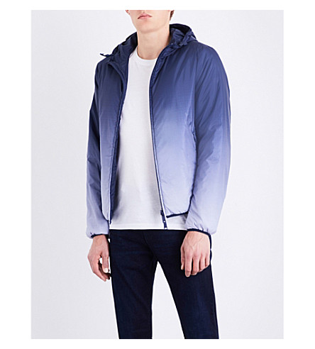 ARMANI JEANS Half eagle-print reversible shell jacket (Blue