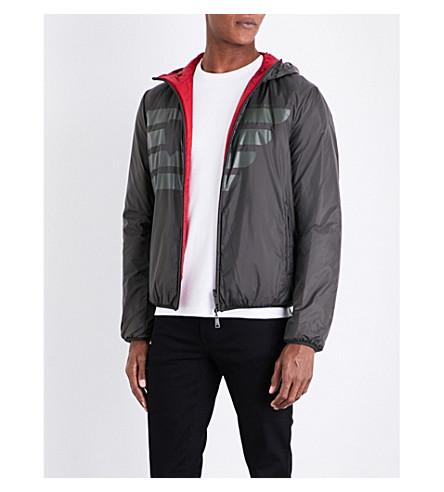 ARMANI JEANS Half eagle-print reversible shell jacket (Khaki