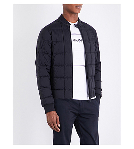 ARMANI JEANS Quilted shell bomber jacket (Navy