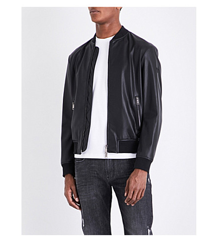 ARMANI JEANS Stand-collar faux-leather bomber jacket (Black
