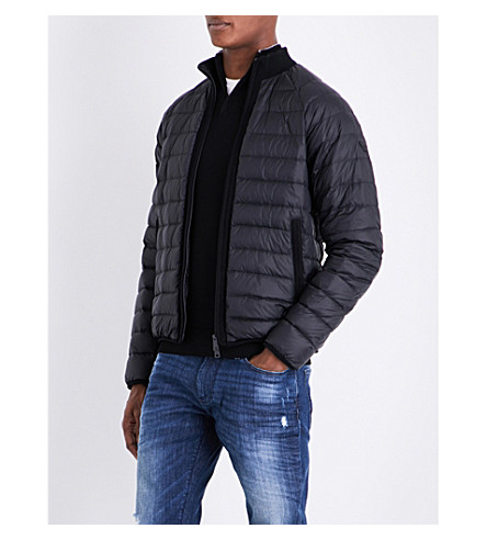 ARMANI JEANS Stand-collar quilted shell jacket (Black