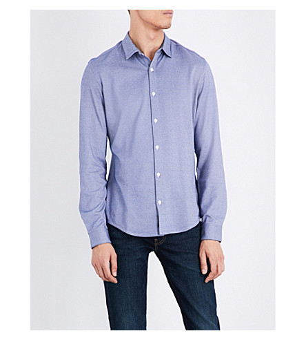 ARMANI JEANS Geometric-pattern slim-fit cotton-blend shirt (Blue