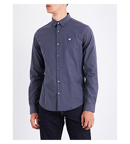 ARMANI JEANS Dot-print slim-fit stretch-cotton shirt (Navy